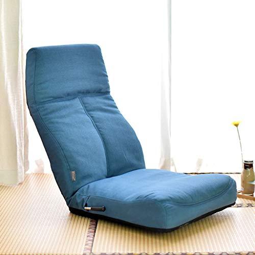 BLSTY Bodenstuhl Zaisu Tatami, Liegend Mit Verstellbarer Rückenlehne Mit Integriertem Griff Faules Sofa für Wohnzimmer Terrasse Beinloser Stuhl-Blau-121x51x12.5Cm(48x20x5Zoll)