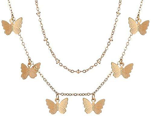 Mxdztu Co.,ltd Collar con Cierre de múltiples Capas, Colgantes con Retrato, Collares para Mujer, Collar de corazón con Llave de Metal Dorado, Regalo de joyería