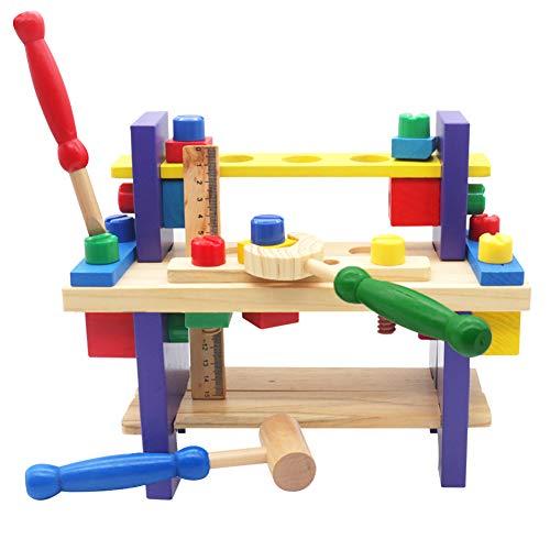 Nuheby Werkzeug Werkzeugkoffer Werkbank Kinder Holzspielzeug 42 Stück Multifunktionale Spiel-Werkzeugkasten für kleine Erfinder aus Holz Pädagogisches Spielzeug ab 3 4 5 6 Jahre Jungen Mädchen