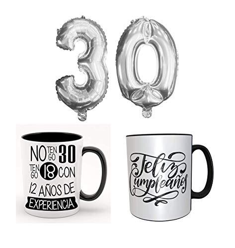 Los Eventos de la Tata. Pack de taza de 30 cumpleaños + Globos Gigantes (75cm) con numero 30 Años