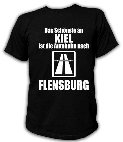 Artdiktat Herren T-Shirt Anti Kiel - Das Schönste an Kiel ist die Autobahn nach Flensburg Größe XXL, schwarz