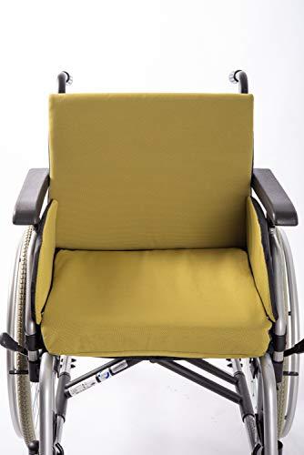 Weiches Polster Set für faltbaren Rollstuhl von SALJOL, das Zusammenspiel der Kissen wirkt schmerzlindernd, Gr.L grün