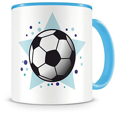 Samunshi® Taza infantil con diseño de balón de fútbol, color azul