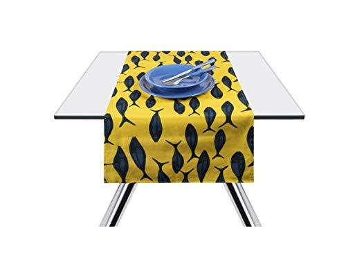 Excelsa Afrika Pesci Runner da Tavola, Cotone 100%, Giallo E Blu, 45 x 140 cm