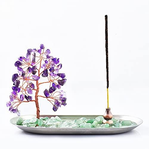 Incense Holder for Sticks, Healing Crystal Stone Money Tree Incense Burner for Yoga, Meditation and...