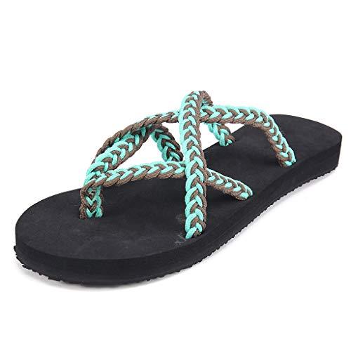 BURFLY Damen Sommer Mode Seil Knoten Sandalen römische Schuhe Strand offene Zehe flach große Flip-Flops