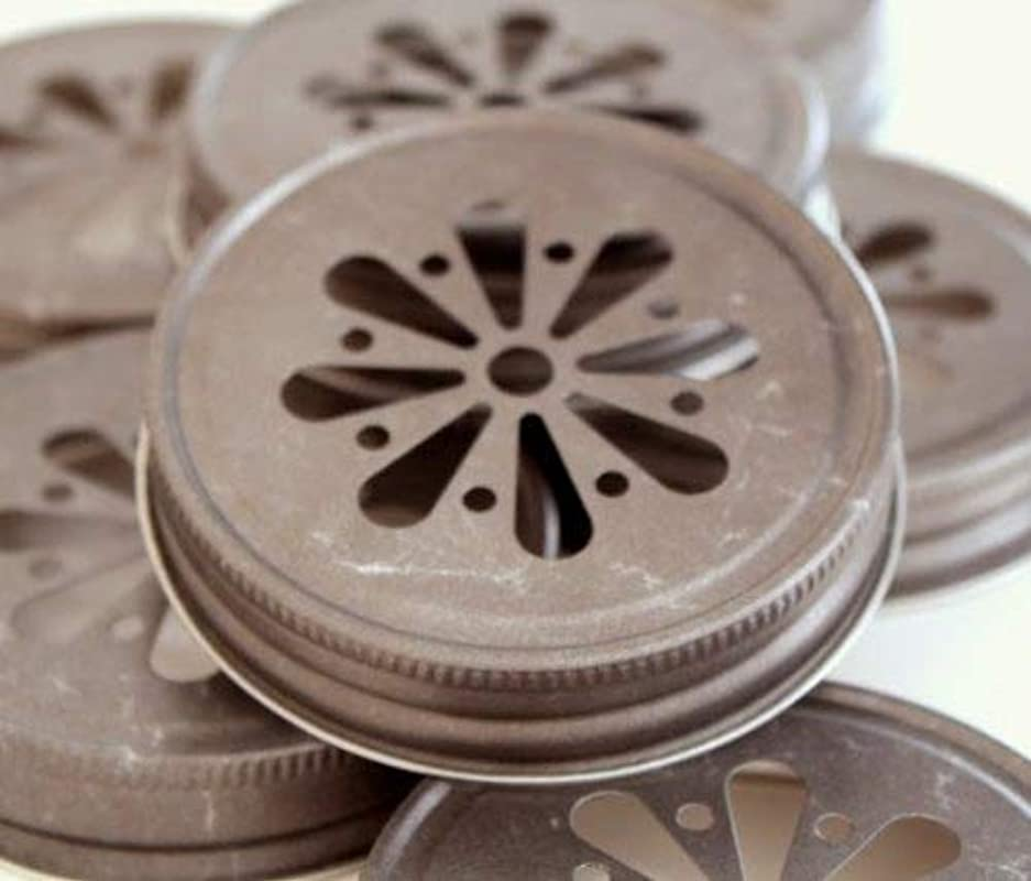 Pewter Daisy Cut Lids For Mason Jars 12 Count