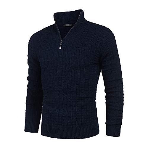 COOFANDY Herren Strickpullover Zip Neck Langarm Basics aus Baumwollmischung Feinstrick Pullover Sweat Sweatshirt Navy Farbe S