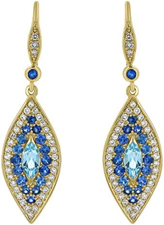 Olivia Paris 14K Yellow Gold Evil Eye Marquise Shaped Diamond and Blue Sapphire Drop Earrings product image