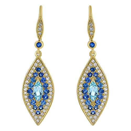 0.35 ct tw Natural Blue Diamond Solid 14k Yellow Gold 7 Stone Semi Hoop Earrings