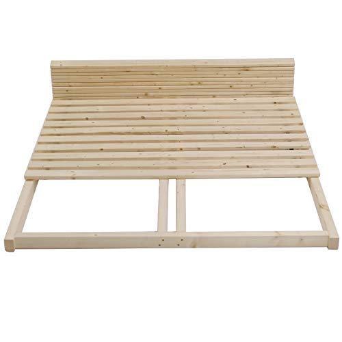 TUGA - Holztech Lattenrost 300Kg reines Naturprodukt unbehandelt bestehend aus Rollrost und passendem Rahmen als Palettenbett nutzbar (140 x 200 cm)