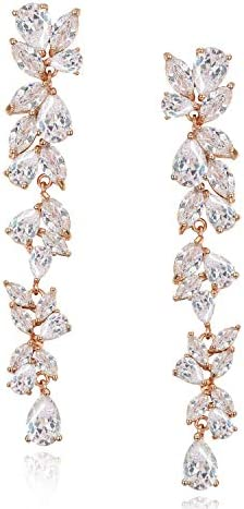 SWEETV Cubic Zirconia Bridal Earrings for Women Brides Rose Gold Crystal Chandelier Wedding product image