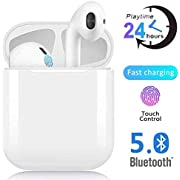 Bluetooth Earphones Bluetooth 5.0 Wireless Earbuds with Portable Charging Case Built-in HD Mic and HIFI Stereo Sounds IPX5 Waterproof Compatible with Samsung/iPhone/Android/Apple AirPods