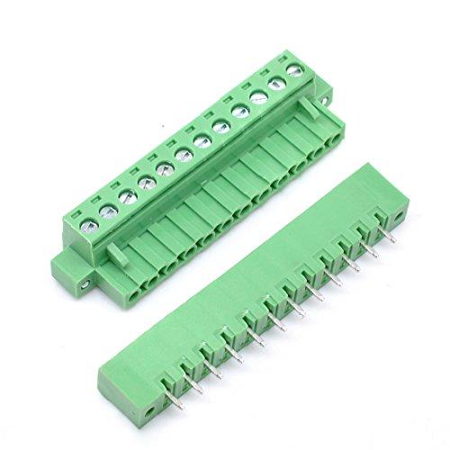 Willwin 5 Set 5,08 mm Abstand 12-polige steckbare Anschlussklemmen für Leiterplatten Grün