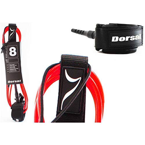 DORSAL Premium Surfboard 6 7 8 9 10 FT Surf Leash - Red - 9 FT Longboard - Red