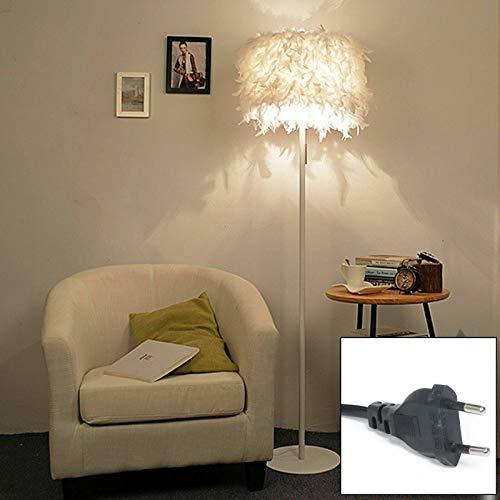 Lámpara de pie LED con plumas blancas, lámpara de pie, luz de lectura, salón, 157 cm