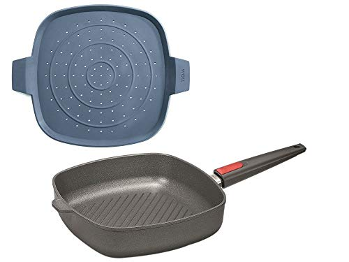 Woll, Guss-Steakpfanne mit Rillen, Induktion 28 x 28 cm, 6,5 cm hoch Nowo Titanium + Silikon-Spritzschutz