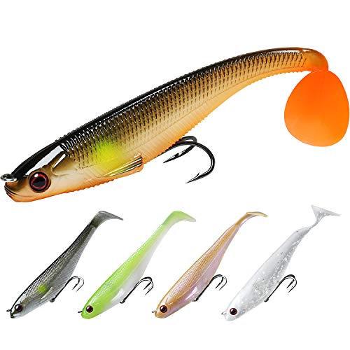 TRUSCED Power Soft Fishing Lures Pre-Rigged BKK Hook, Japan Formula, Slow Sinking, Swimming, Jerking, Freshwater or Saltwater Swimmer for Bass Trout Pike Fishing