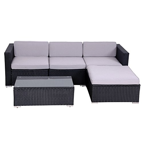 SVITA California Poly-Rattan Lounge Gartenset Sofa-Set Garnitur Gartenmöbel Couch-Set - 8