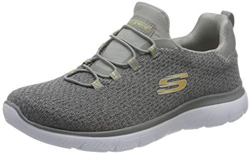Skechers Summits-Bright Bezel, Zapatillas Mujer, Multicolor (GRY Black Knit/Silver Trim), 36.5 EU