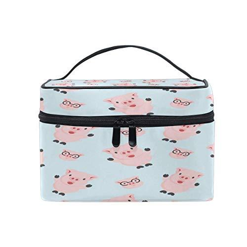 Bolsa de maquillaje, lindo patrón de cerdo de color rosa estuche de viaje portátil de impresión grande bolsa de cosméticos organizador compartimentos para niñas mujeres señora