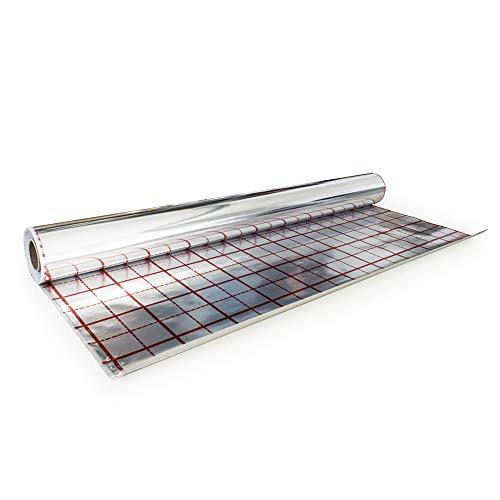 Rasterfolie für Fußbodenheizung Isolierfolie Iso Folie Alufolie der Dicke 105 µm 50 m2