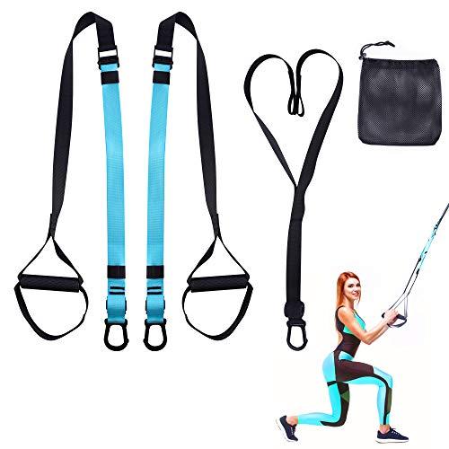VALKIA Allenamento Sospensione, Workout Set per Suspension Sling Trainer, con Ancoraggio della Porta e Cintura di Prolunga, Regolabile per Ftness, Casa, Viaggio e in Interni ed Esterni