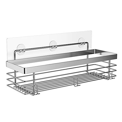 ODesign Shower Caddy Basket Shelf with Hooks for Shampoo Conditioner Bathroom Storage Organizer Adhesive No Drilling SUS304 Stainless Steel - Rustproof
