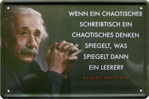Chaotischer Schreibtisch-Chaotisch Denken Albert Einstein 20x30 cm Blechschild 920