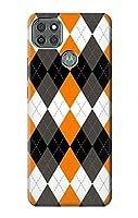 JP3421M9P 黒 オレンジ 白 アーガイルプラッド Black Orange White Argyle Plaid Motorola Moto G9 Power ケース
