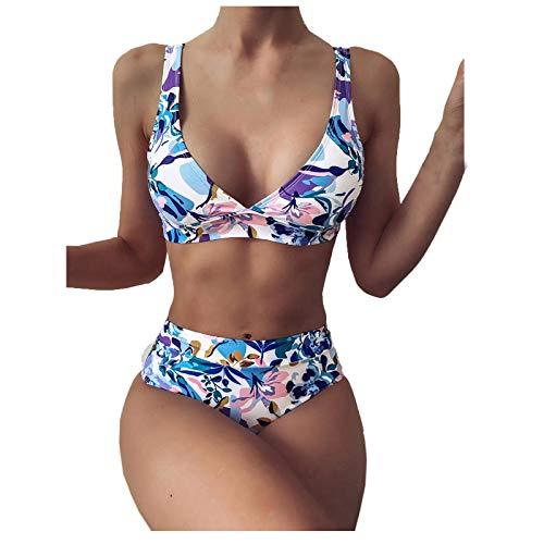 yayay Conjunto de traje de baño de dos piezas para mujer, teñido anudado, cintura alta, cuello en V profundo
