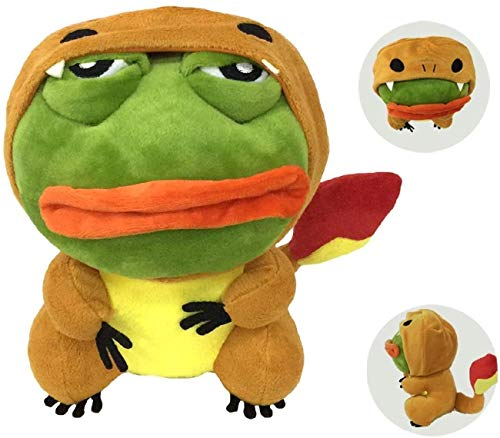 Jinwe Sad Frog Cosplay Plush Toy, Sad Frog Pepe Plush, Frog Cosplay Pokemon Anime Coat Toy,Suitable for Decompression or Gifts for Kids (C)