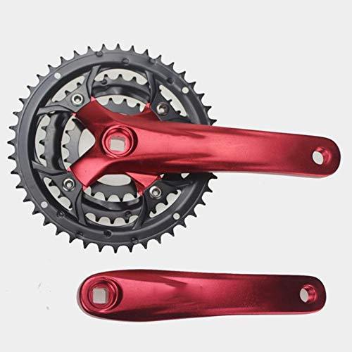 DZGN Juego de bielas MTB 44T piñón de Bicicleta Delantero de 3 Pliegues manivela de Bicicleta de una Velocidad Cuadrada 9S Juego de bielas,Rojo
