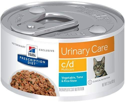 Hill's Pet Nutrition C/D Multicare Urinary Care Tuna & Vegetable Stew Canned Cat Food, 2.9 oz, 24 Pack Wet Food