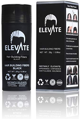 ELEVATE Hair Fibers 100% Natural Keratin Hair Fibers Instantly Thickens Thinning or Balding Hair for Men and Women - Natural Hair Loss Concealer 28g 0.98oz (Black)
