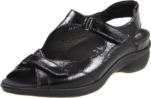 ara Women's Maya Ankle-Strap Sandal,Black Crinkle Patent,6 M US