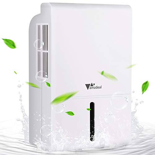 Amzdeal Small Dehumidifier Mini Dehumidifier 3.2 Pint (51 oz) Capacity, Digital Display, Remove 1 Pint (17 oz) of Water per Day, Suitable for Home, Basement, Bathroom, Closet, Bedroom
