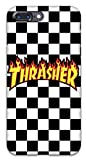 Featuring Thrasher Compatible with iPhone 7 Plus and iPhone 8 Plus Soft Phone Case Cover Cool Skateboarder (A) Black and White