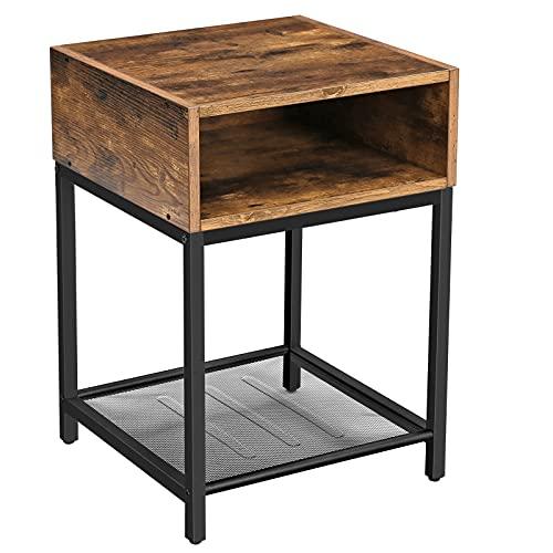 VASAGLE Nachttisch, Beistelltisch mit offenem Fach und Gitterablage, Wohnzimmer, Schlafzimmer, einfacher Aufbau, platzsparend, Industrie-Design, vintagebraun-schwarz LET46X