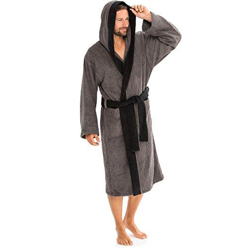 aqua-textil Sylt Bademantel mit Kapue M anthrazit schwarz Baumwolle Saunamantel Damen Herren Morgenmantel Frottee