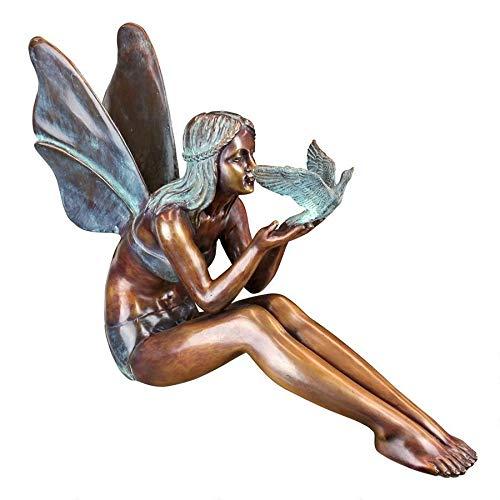 Design Toscano SU47107 Vogel-Elfe, Gartenfigur aus Bronzeguss: Groß, Zweifarbig Bronze & Grünspan, 15,24 x 60,96 x 45,72 cm