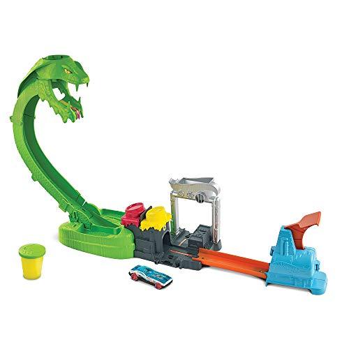 Hot Wheels Ataque de la cobra tóxica con slime, pista para coches de juguete con 1 vehículo die-cast (Mattel GTT93)