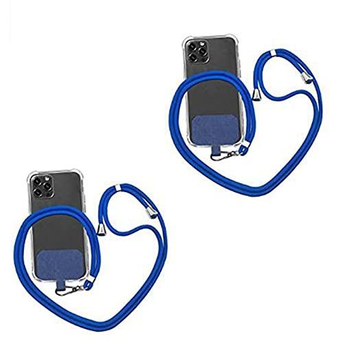2 Cordones universales para teléfono con Parche de Nailon Cruzado, Correa de Nailon Ajustable y Desmontable para el Cuello, Compatible con la mayoría de los teléfonos Inteligentes (Blue)