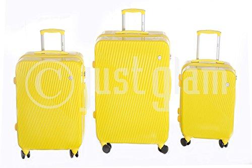 JustGlam - Set 3 Trolley 885 valigie rigide in ABS policarbonato 4 ruote piroettanti , bagaglio piccolo da cabina , chiusura con lucchetto TSA per dogana americana