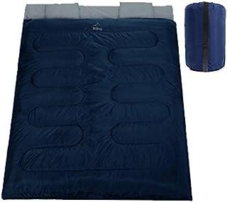 (nshop) 寝袋 2人用 シュラフ 洗える 枕付き 収納袋付 抗菌仕様 最低温度-5℃