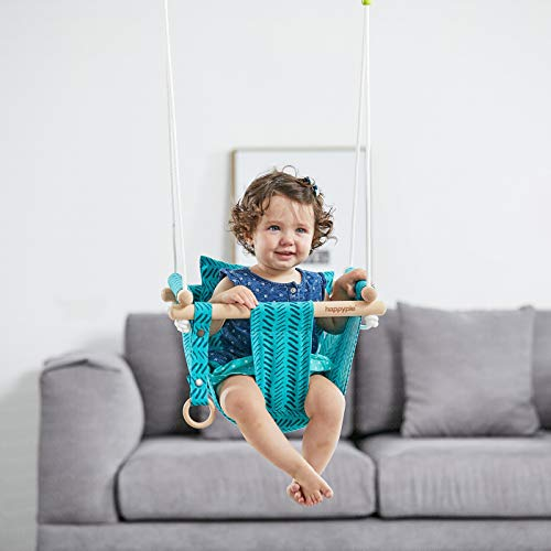 HAPPY PIE PLAY&ADVENTURE Secure Canvas Hanging Swing Seat Indoor Outdoor Hammock Toy for Toddler (Bright Green)