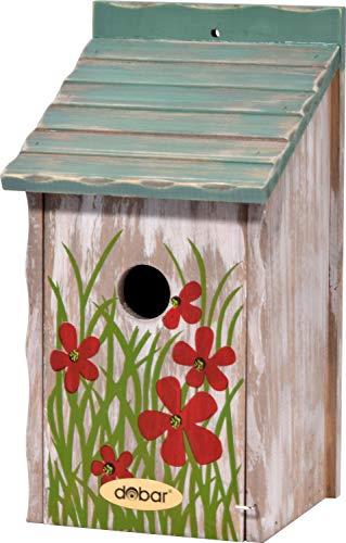dobar Bunter Nistkasten mit Blumenmuster, Vogelhaus Einflugloch Ø 30 mm, 15 x 14,5 x 28 cm, Kiefer, grün/rot, 22372FSCe
