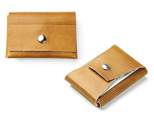 DELMON VARONE - Personalisierbares Slim Wallet aus Premium Anilin Vintage Leder Braun, Mini Geldbeutel hergestellt mit Falttechnik, mit Kreditkarten und Geldschein Fach, Damen und Herren Portemonnaie