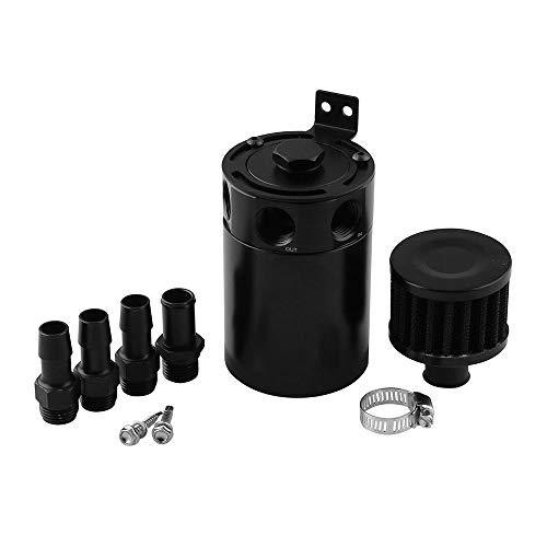 DEDC 3-Port Aluminum Baffled Oil Catch Can Reservoir Tank Universal Oil Separator with Filter