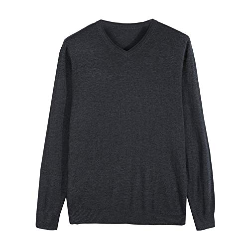 Men Knitted Pullover Cashmere Sweater Casual Slim Fit Sweaters Clothes,Dark Grey,XXXL